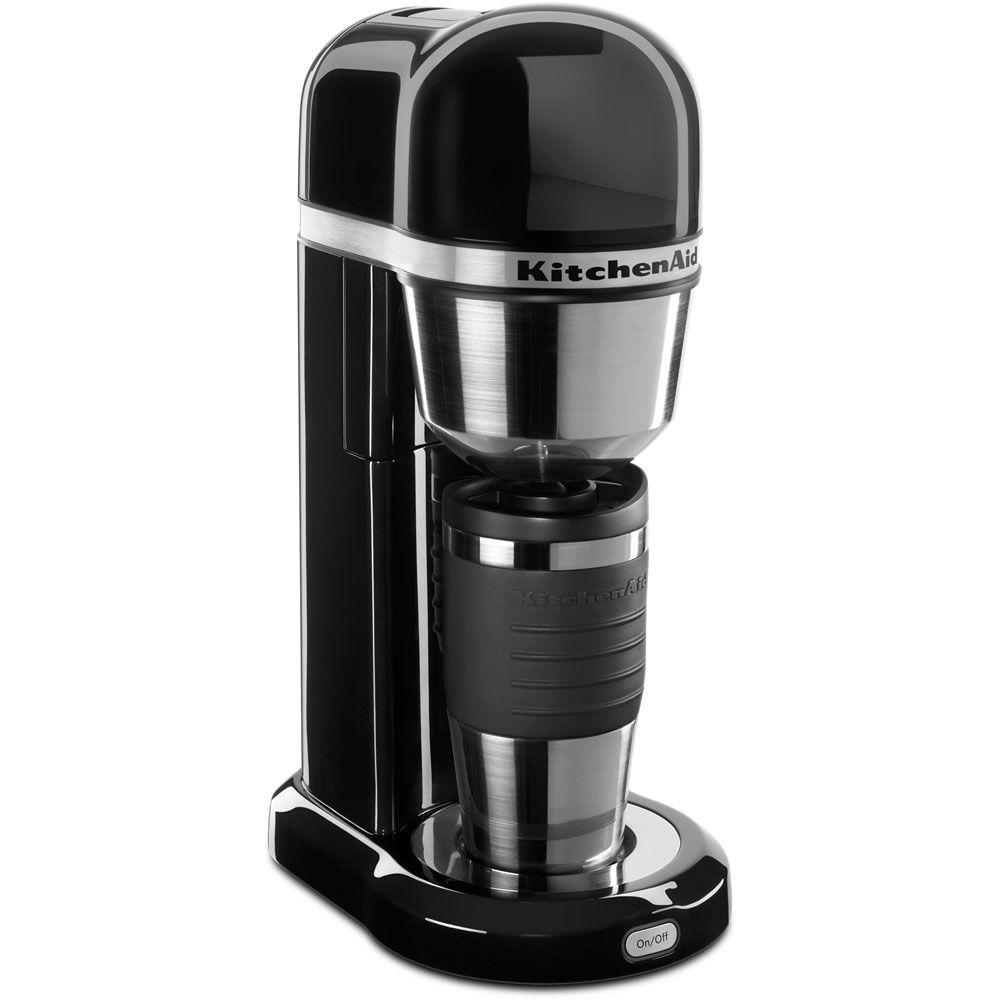 4-Cup Coffee Maker with Multifunctional Thermal Mug in Onyx Black
