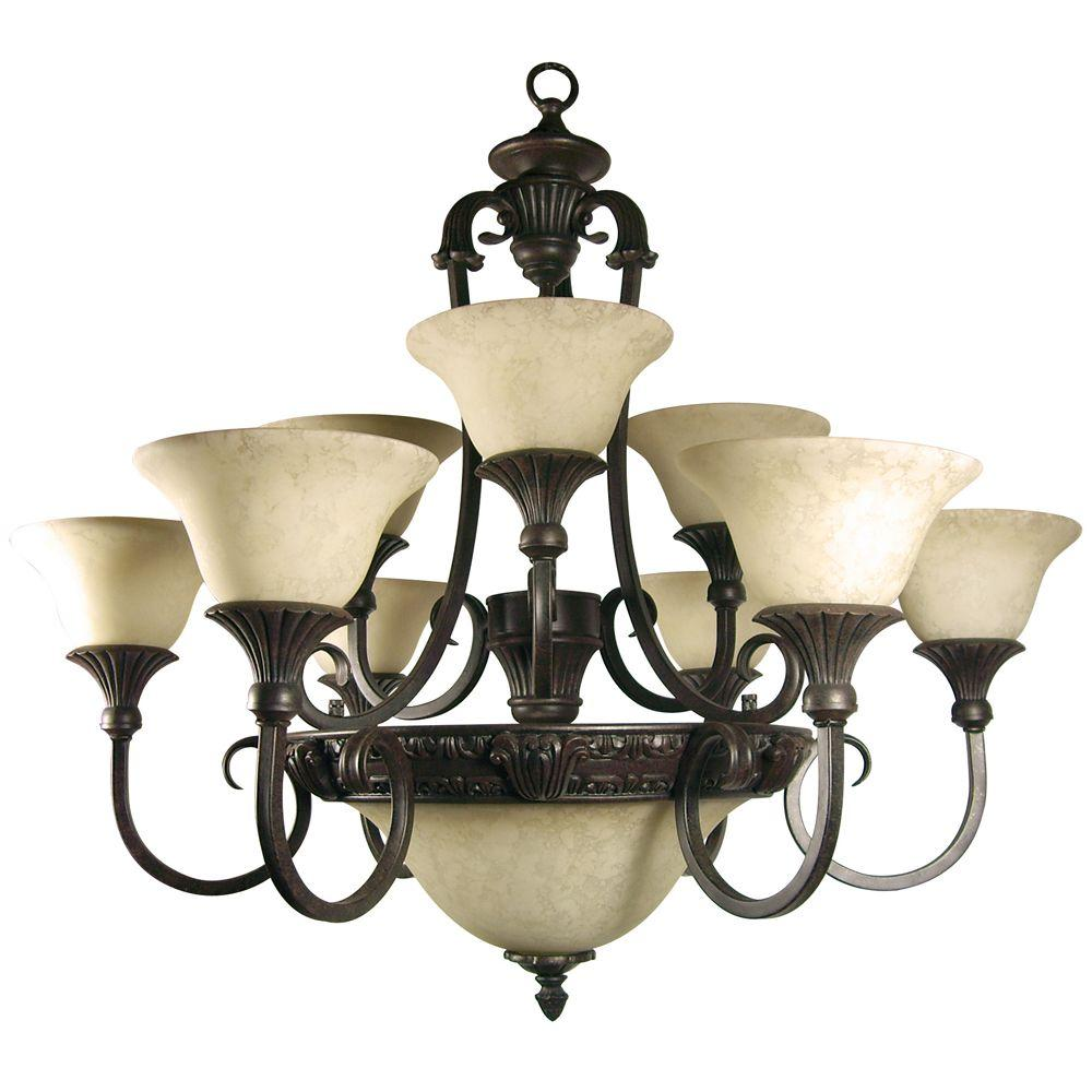 Verona Collection 12-Light Sienna Bronze Hanging Chandelier with Honey Parchment