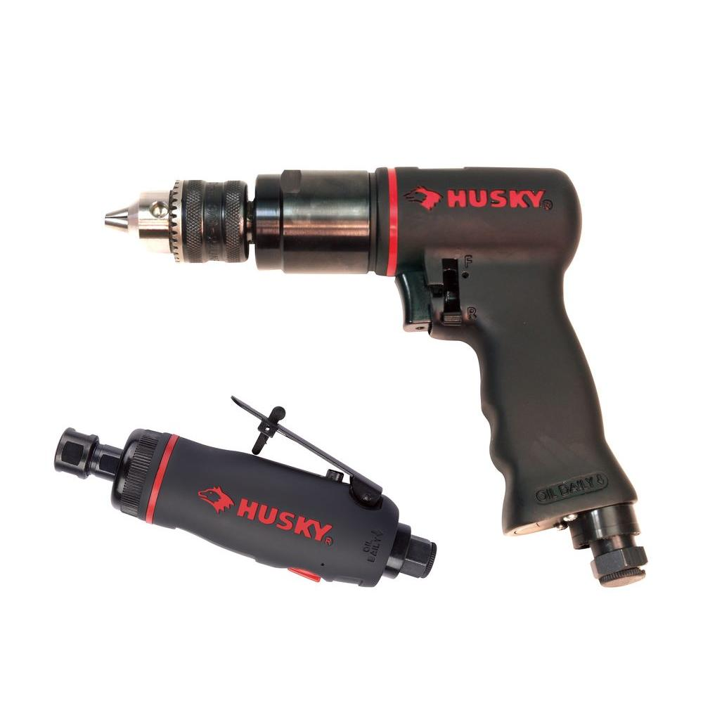 Husky 2-Piece Air Tool Kit with 3/8 in. Reversible Drill and 1/4 in. Straight Die Grinder-DISCONTINUED