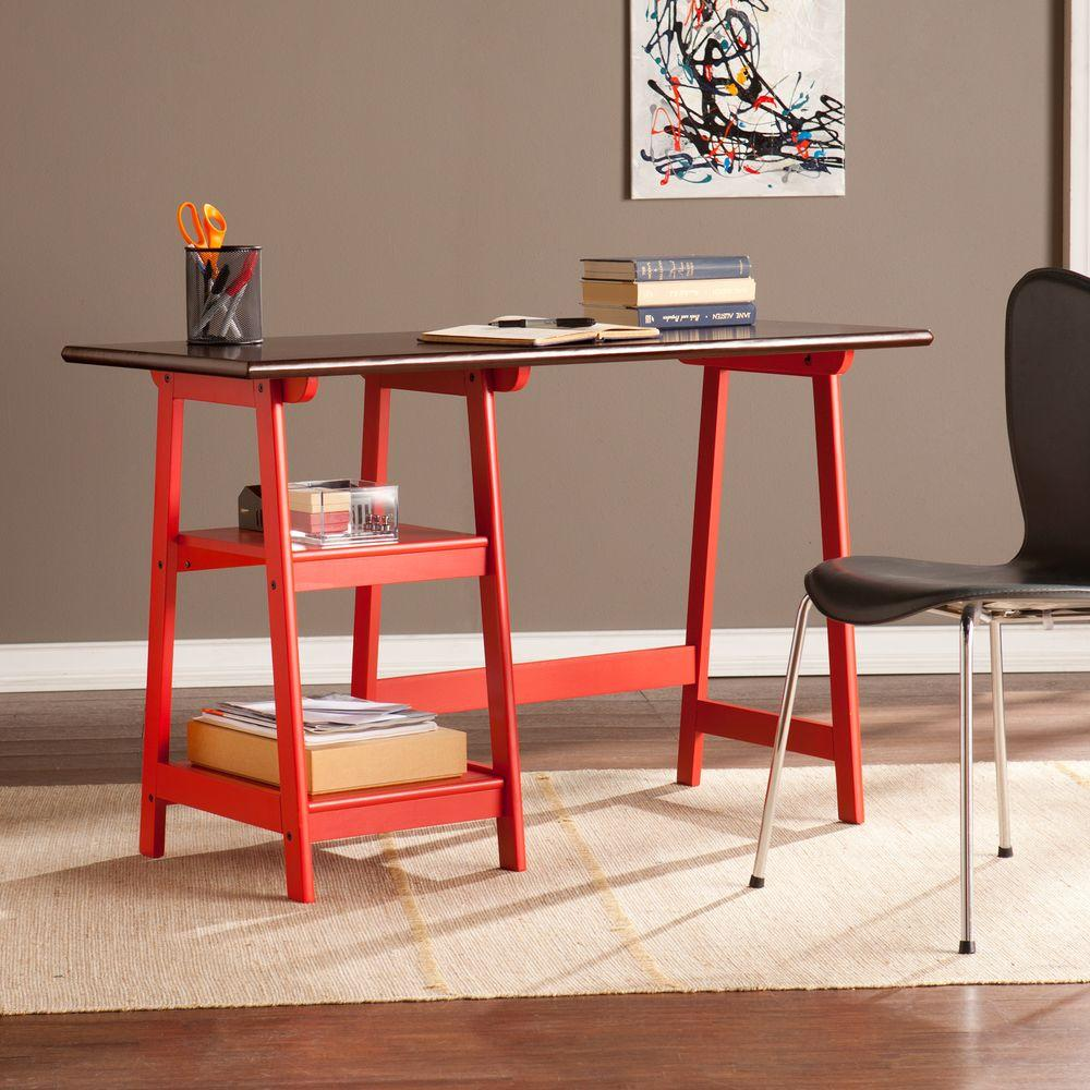 Southern Enterprises Lynne Writing Desk in Red and Espresso-HD865751 - The