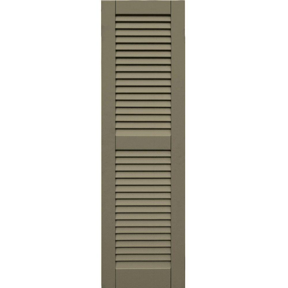 Winworks Wood Composite 15 in. x 52 in. Louvered Shutters Pair #660 Weathered Shingle