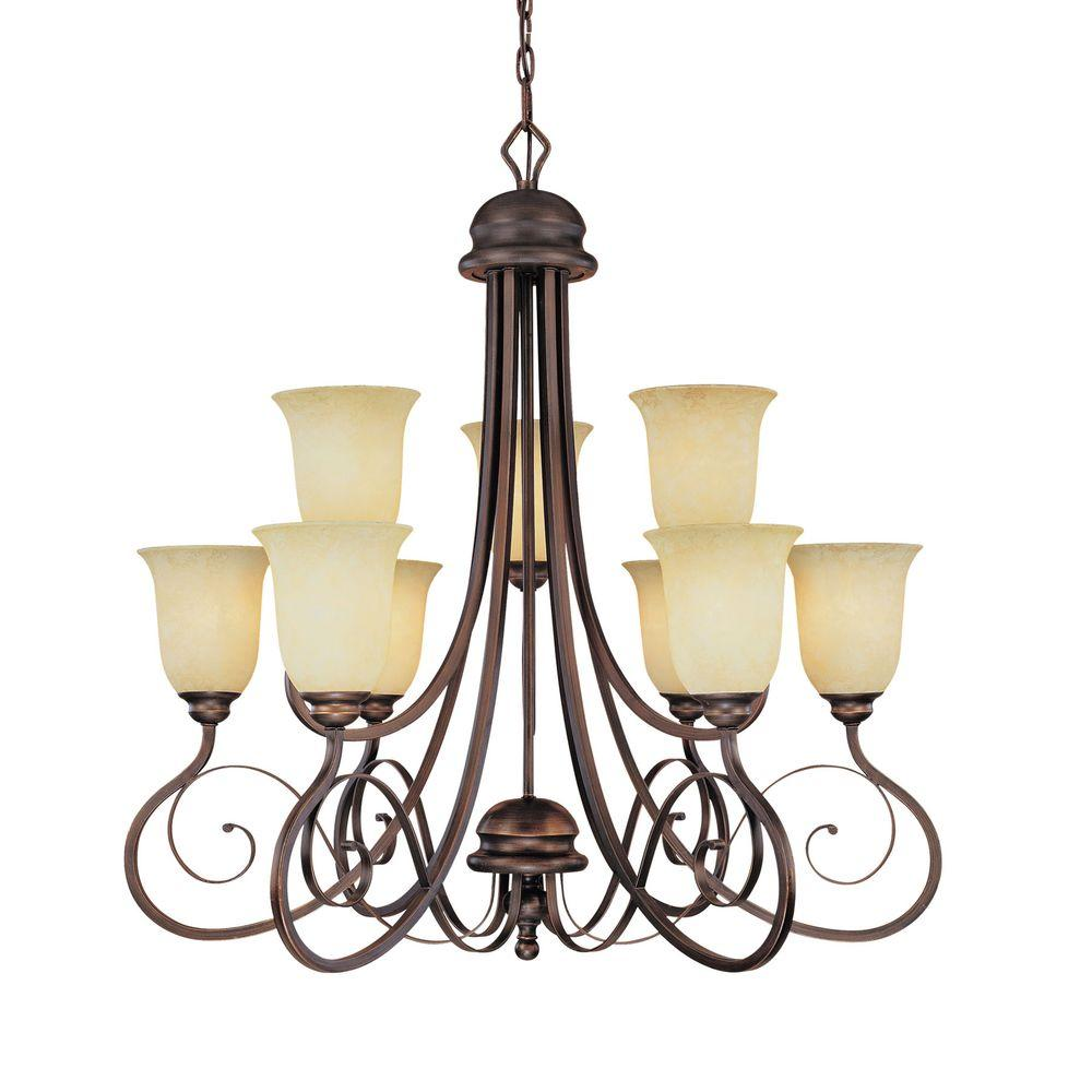 Millennium Lighting 9-Light Rubbed Bronze Chandelier with Turinian Scavo Glass