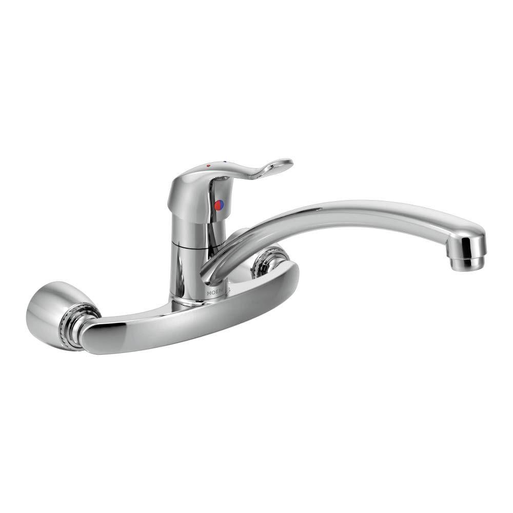 MOEN M-Bition Single-Handle Wall Mount Kitchen Faucet with 12 in. Spout in Chrome