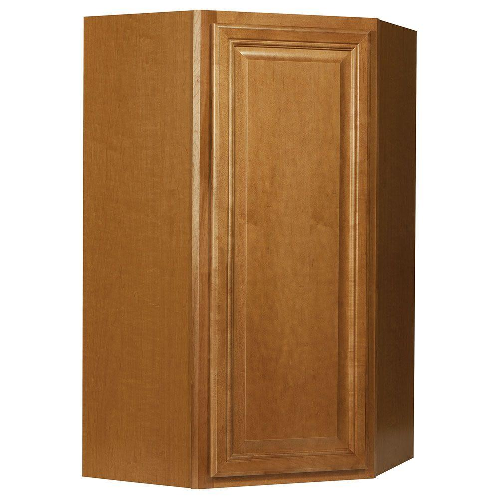 Cambria Assembled 24x42x12 in. Diagonal Corner Wall Kitchen Cabinet in Harvest