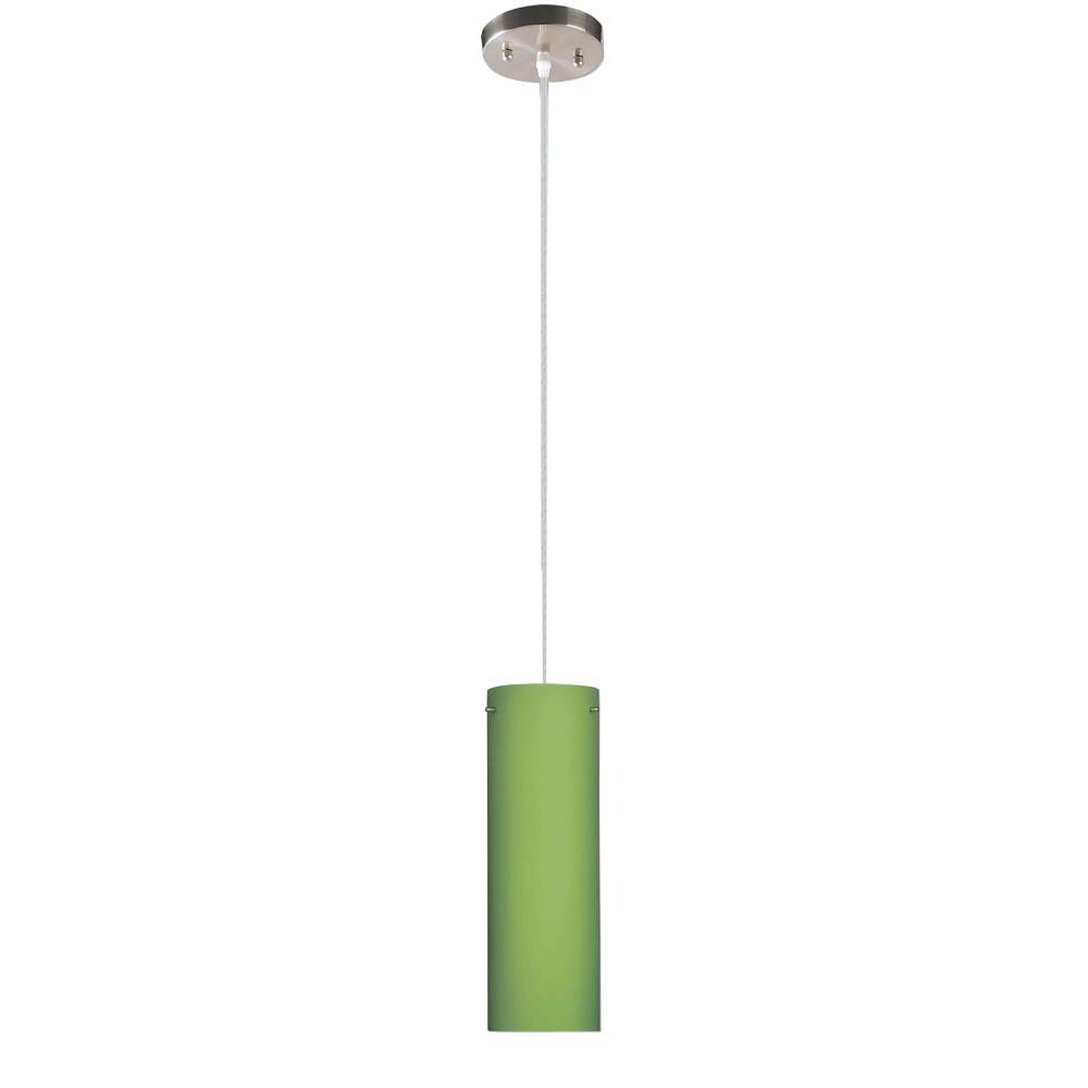 Peak Collection 1-Light Nickel Pendant with Green Glass