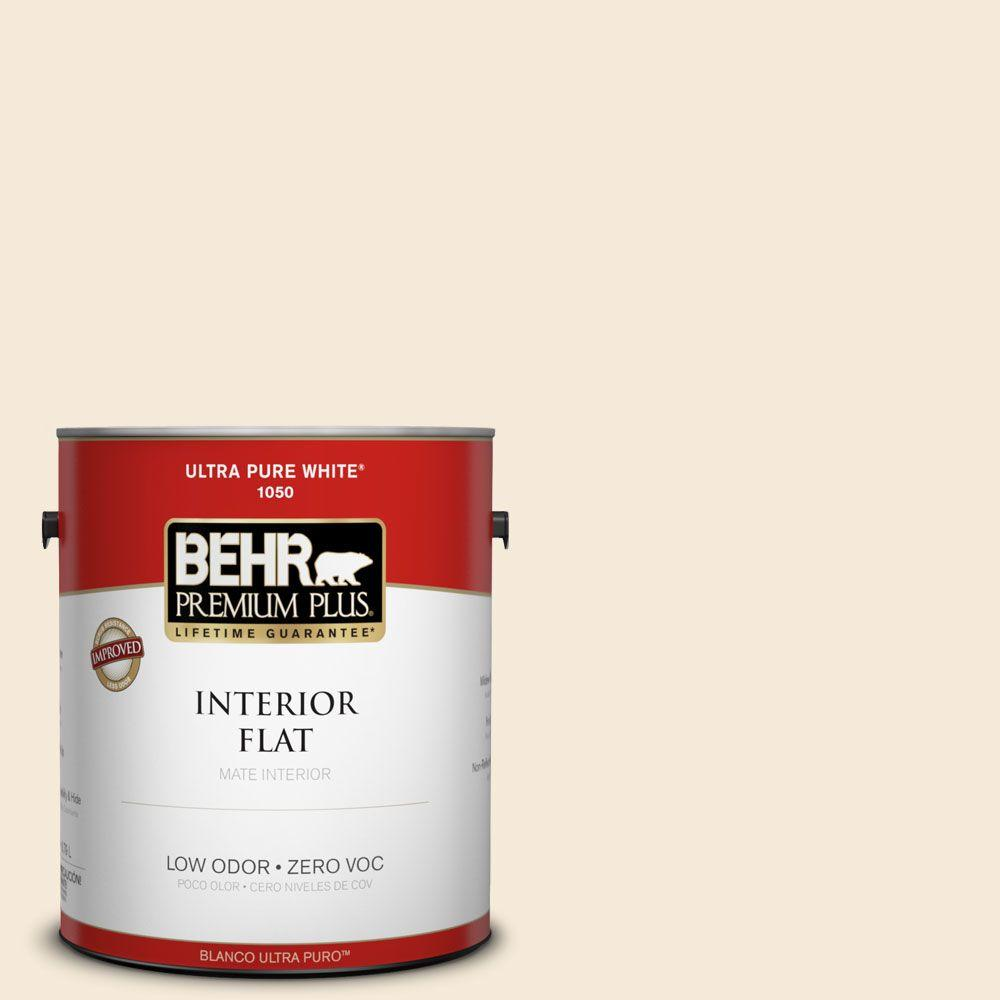 BEHR Premium Plus 1 gal. #70 Linen White Flat Interior Paint-105001