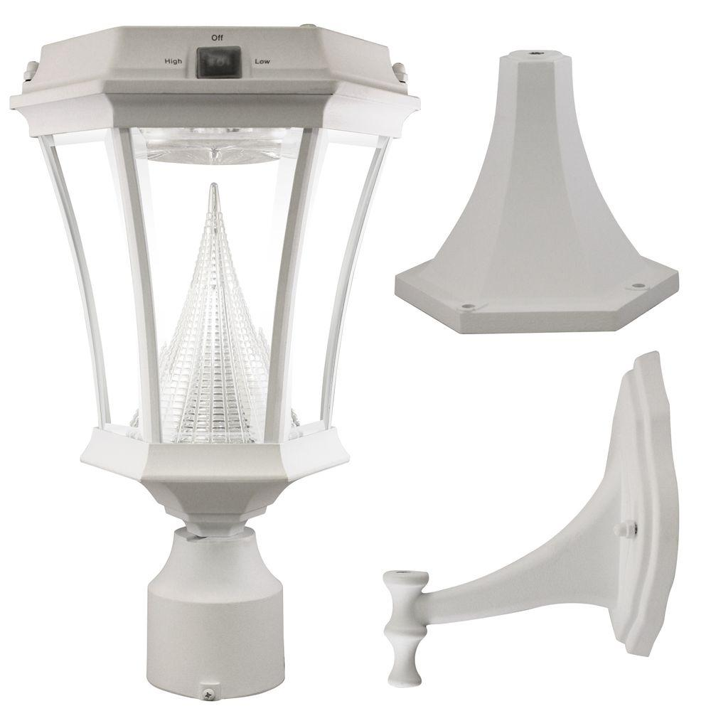 Victorian Single White Integrated LED Outdoor Solar Lamp with 3-Mounting Options
