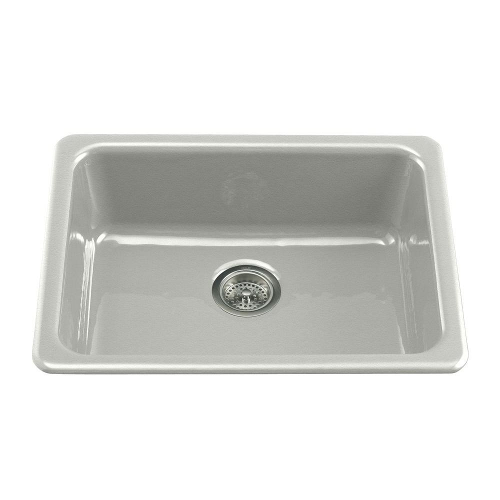 Iron/Tones Drop-In/Undermount Cast-Iron 24 in. Single Bowl Kitchen Sink in Sea