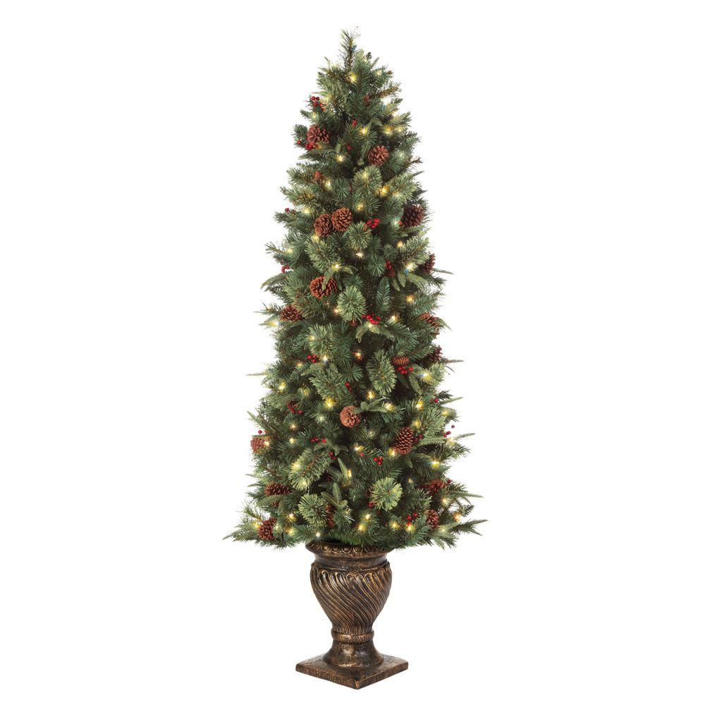 Martha Stewart Living Holiday Ornaments & Decor 6.5 ft. Pre-Lit Potted Artificial Christmas Tree with Clear Lights Greens TY78-797-200L