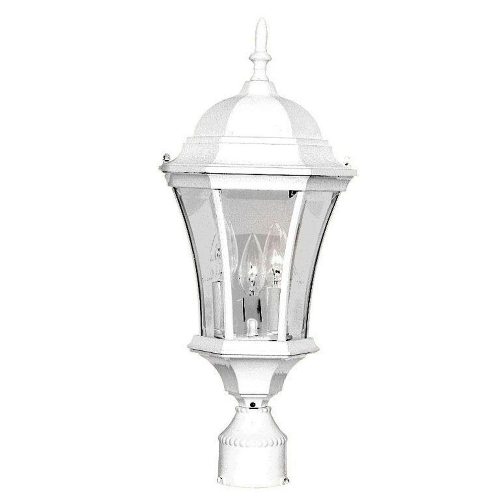 lighting brynmawr 3 light textured white outdoor post mount light