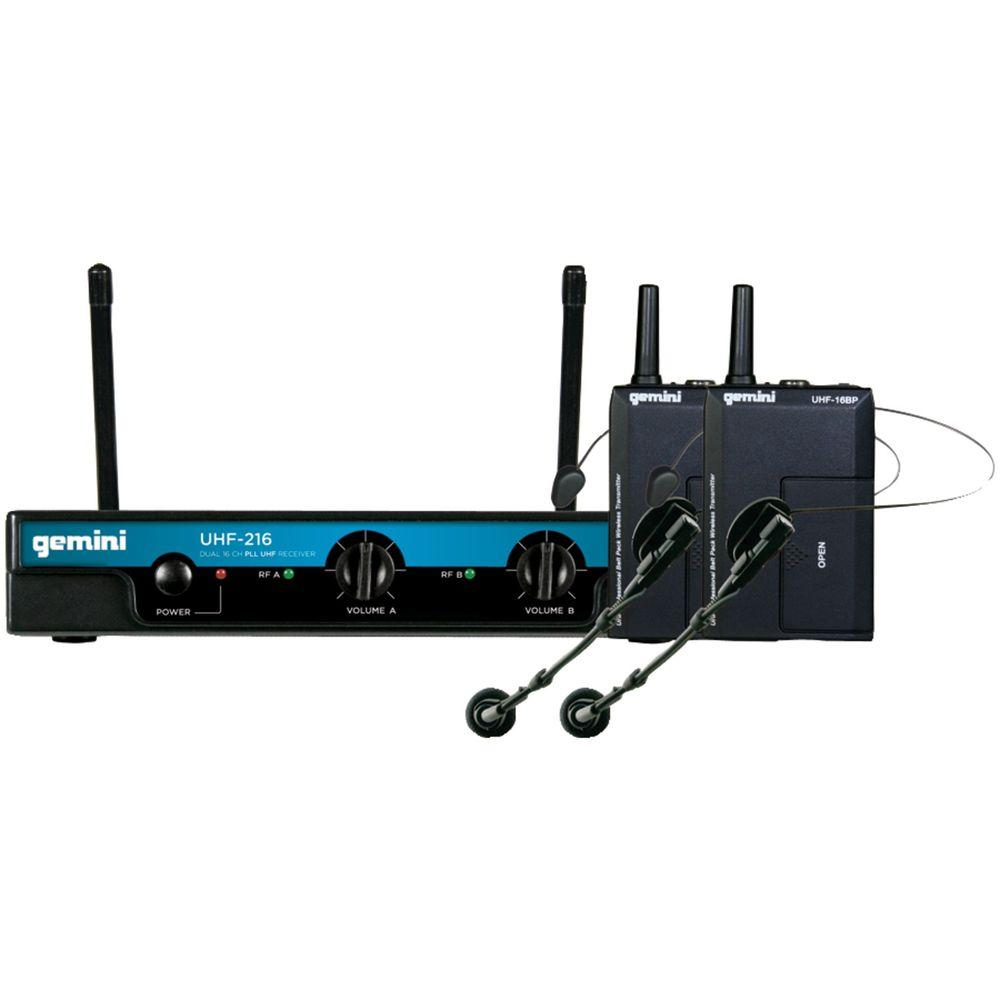 Dual-Channel Wireless Microphone System with 2 Headset Microphones and 2 Belt