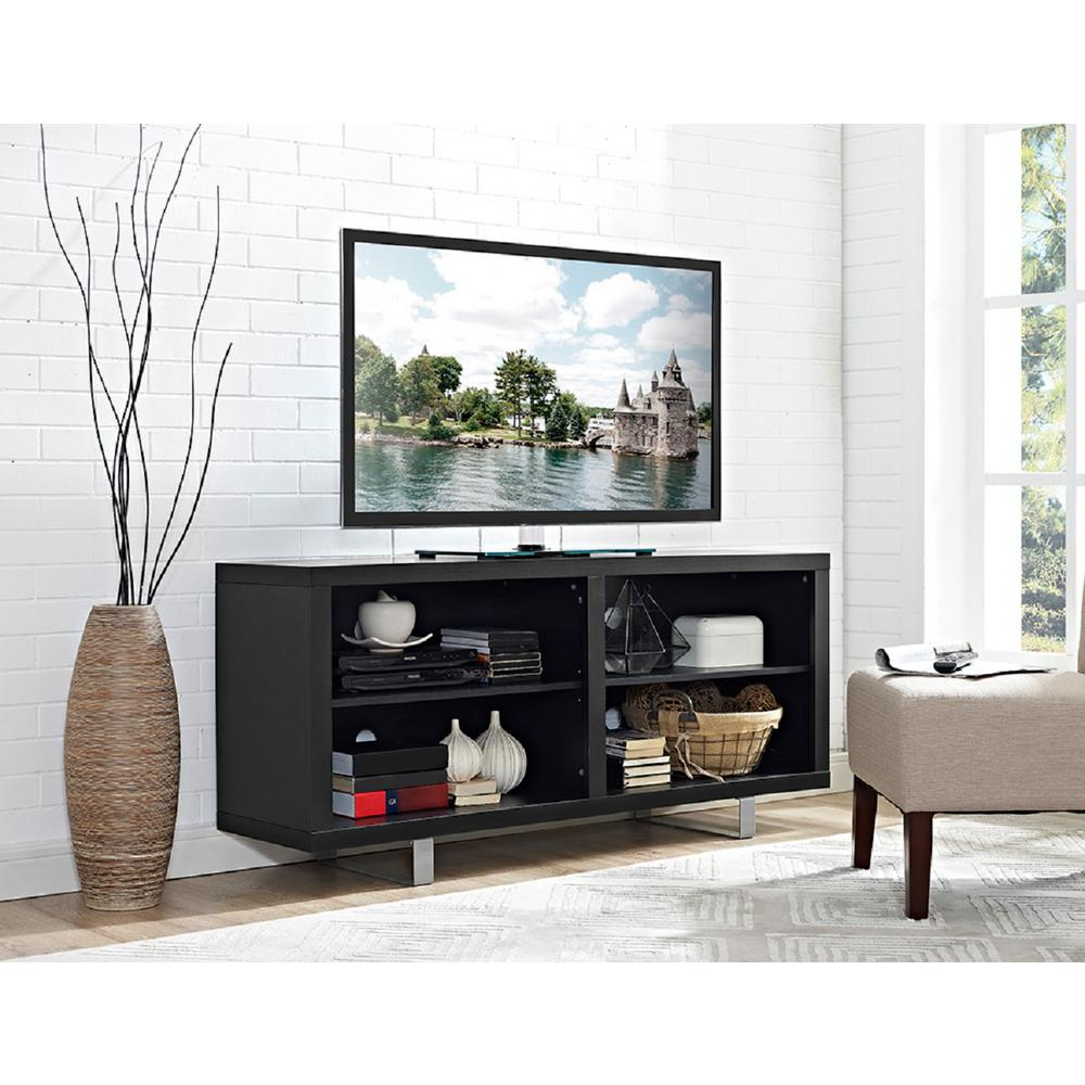 Walker Edison Furniture Company 58 In Simple Modern Tv Console With Metal Legs In Black