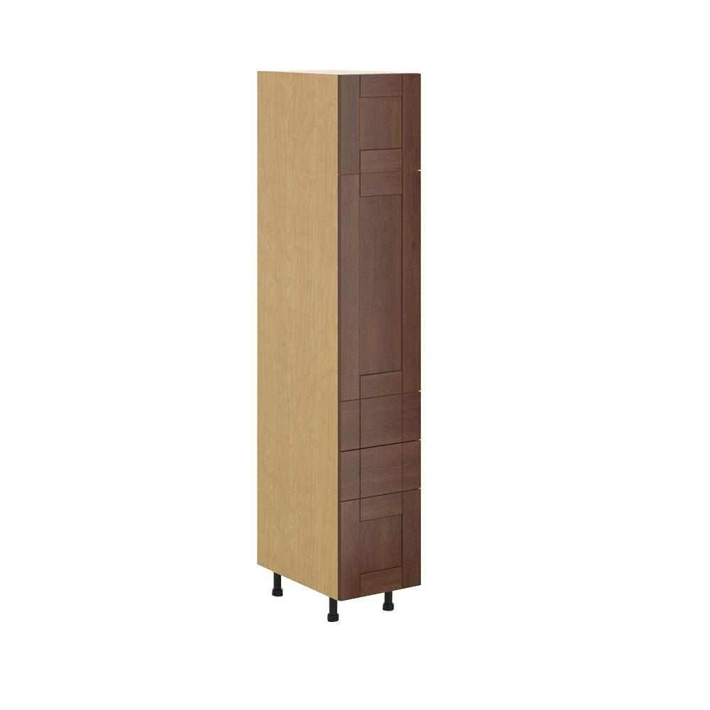 Ready to Assemble 15x83.5x24.5 in. Lyon 3-Drawer Pantry Cabinet in Maple Melamine and Door in Medium Brown, Melamine Maple