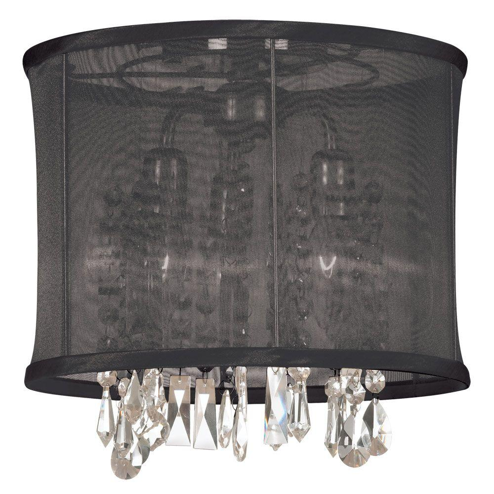 Radionic Hi Tech Bohemian 3-Light Polished Chrome Semi-Flush Mount with Crystal Pendant and Black Organza Shade