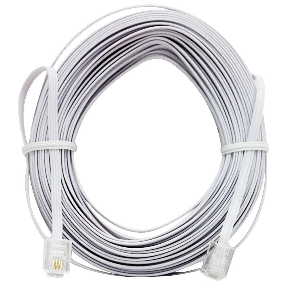 50 ft. Ultra-Thin Phone Line Cord - White