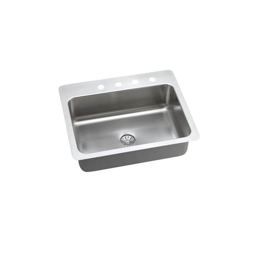 Elkay Innermost Perfect Drain Dual Mount Stainless Steel 27 in. 4-Hole Single Bowl Kitchen Sink