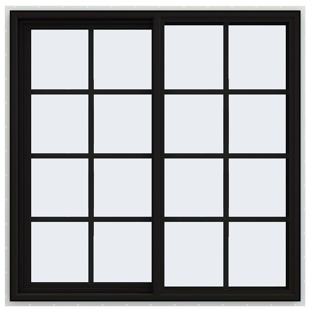 47.5 in. x 47.5 in. V-4500 Series Left-Hand Sliding Vinyl Window with Grids - Black