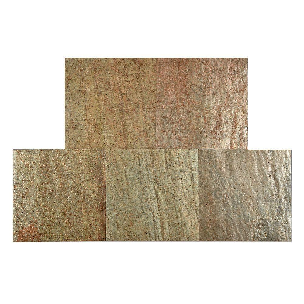 Copper 12 in. x 12 in. Slate Peel and Stick Wall