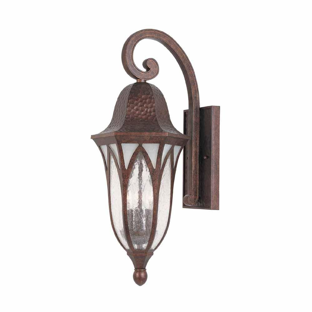 World Imports 9 in. Burnished Antique Copper Outdoor Wall Sconce with