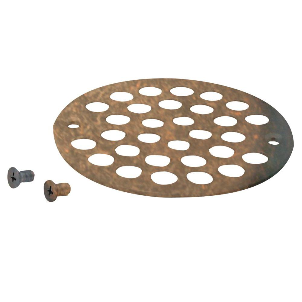 Westbrass 4 in. Brass Shower Strainer Grid with Screws in Tumbled Bronze