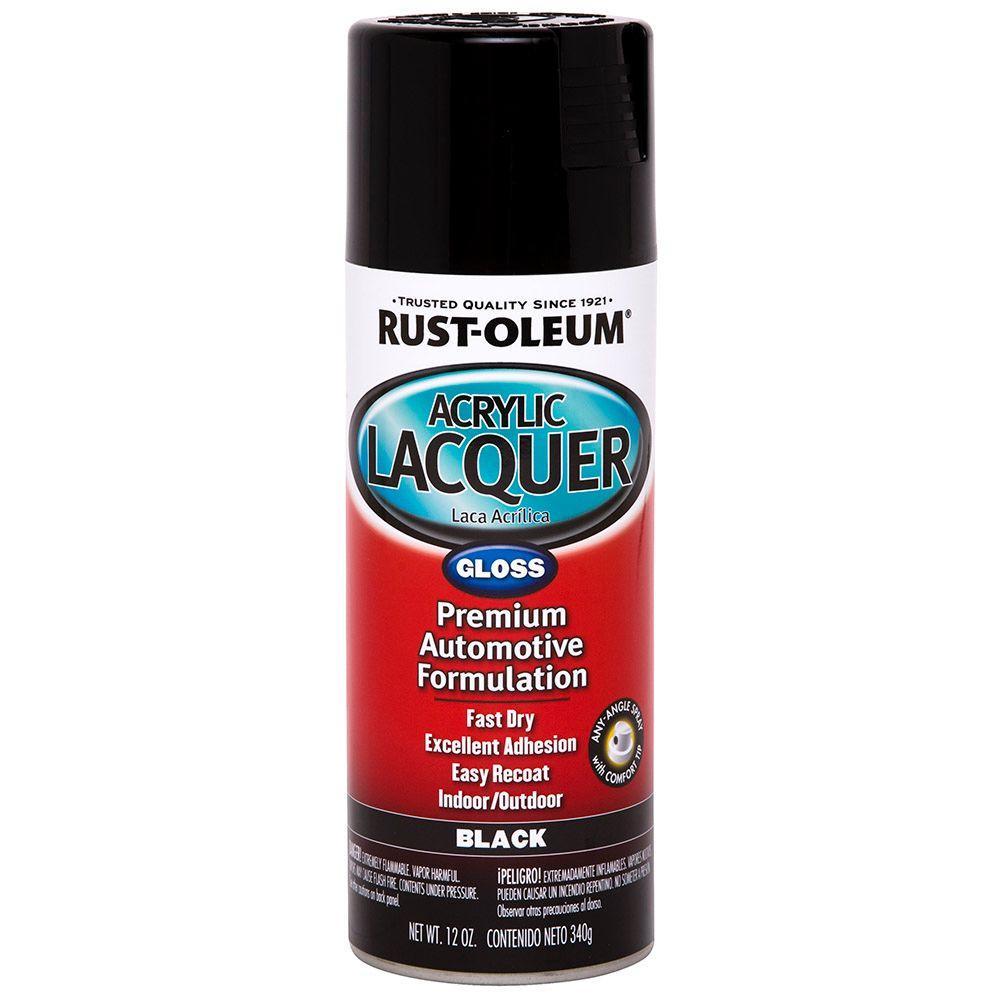 Rust Oleum Automotive 12 Oz Black Gloss Acrylic Lacquer Spray Paint 6 Pack 253365 The Home