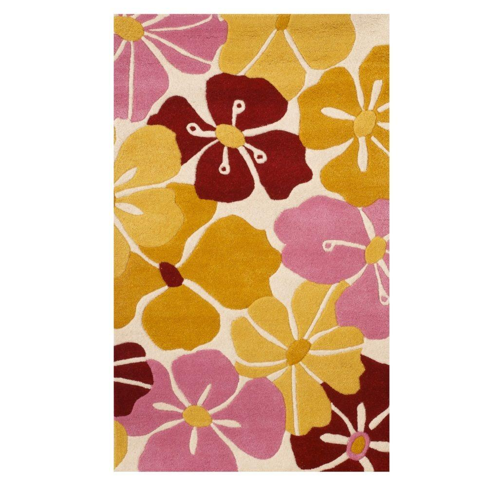 Petals Gold 3 ft. x 5 ft. Area Rug, Gold/Pink/And Red