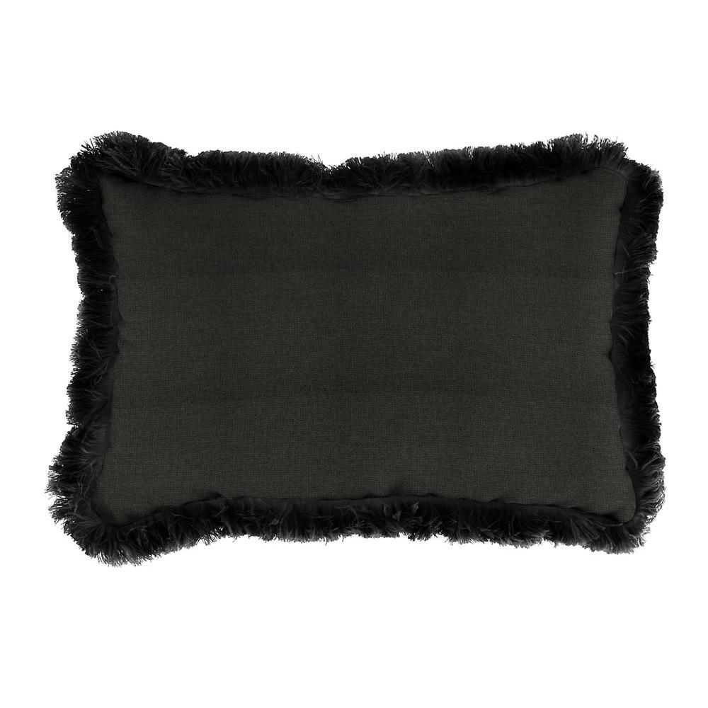 Jordan Manufacturing Sunbrella 19 in. x 12 in. Spectrum Carbon Outdoor Throw Pillow with Black Fringe