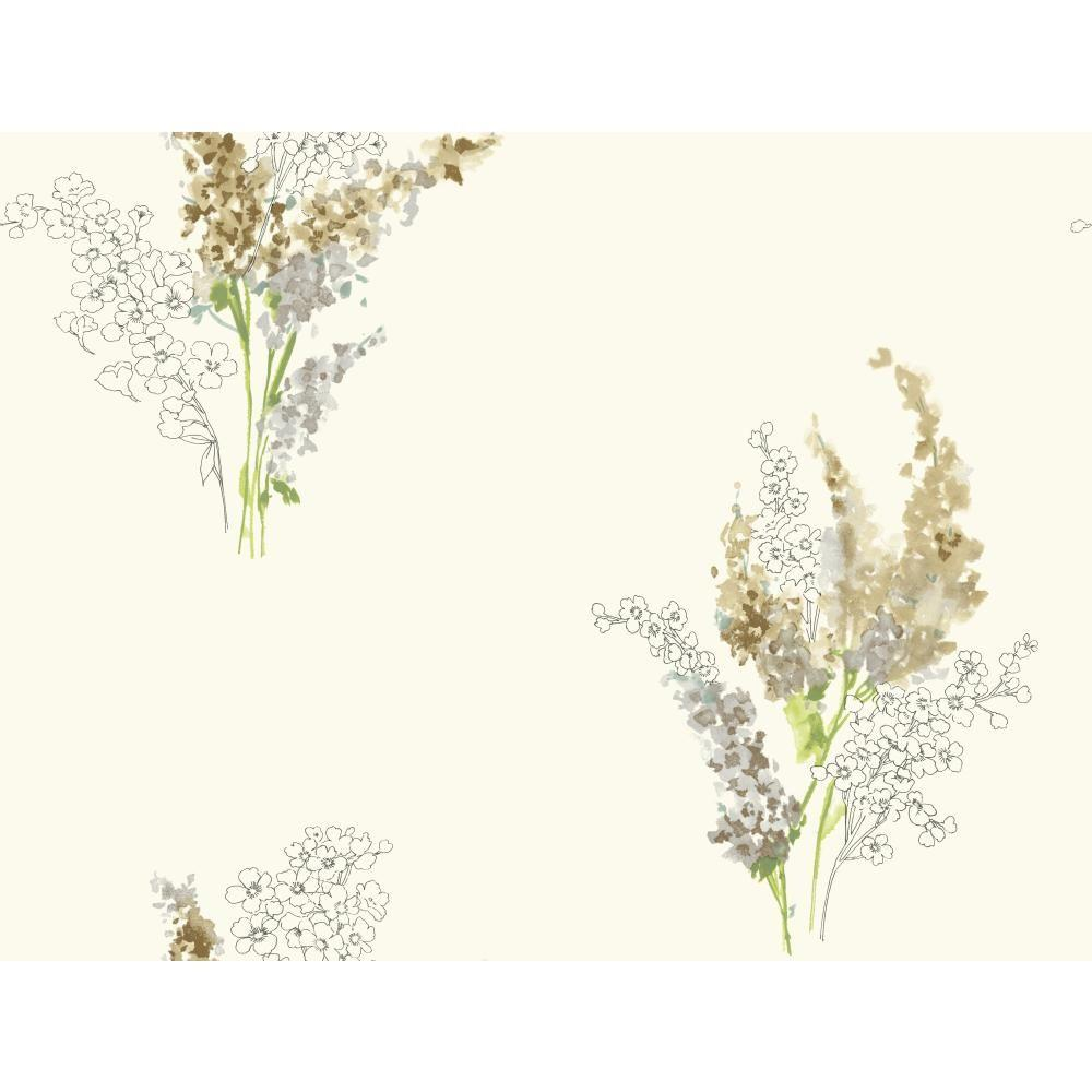 60.75 sq. ft. Watercolors Delphinium Wallpaper, White/Brown/Grey/Brown/Yellow/Green