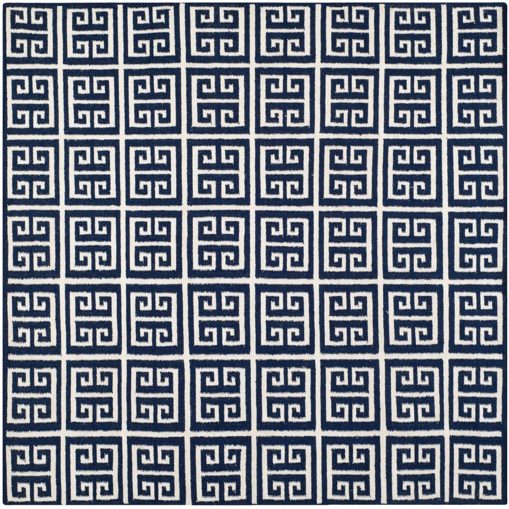 Safavieh Dhurries Navy/Ivory 7 ft. x 7 ft. Square Area Rug
