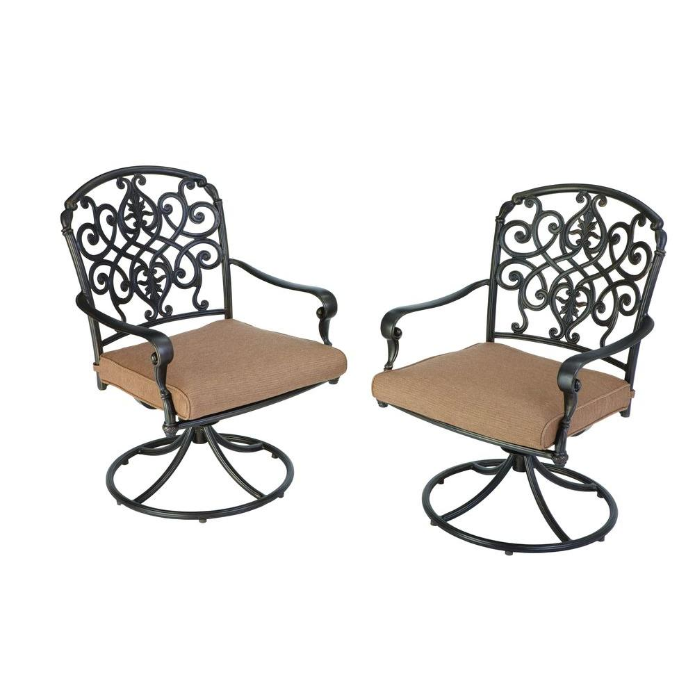 Hampton Bay Edington 2013 Swivel Patio Dining Chair with Textured Umber Cushion (2-Pack)-DISCONTINUED