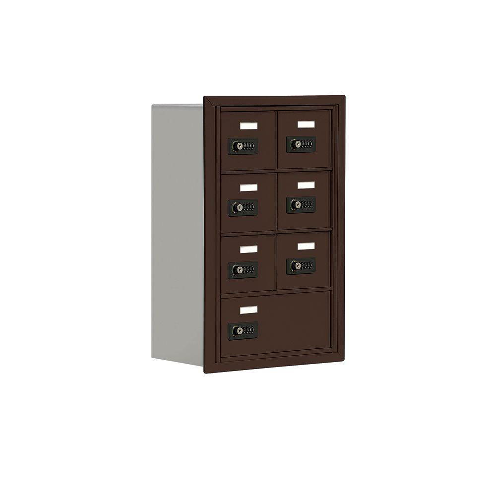 Salsbury Industries 19000 Series 17.5 in. W x 25.5 in. H x 8.75 in. D 6 A / 1 B Doors R-Mount Resettable Locks Cell Phone Locker in Bronze