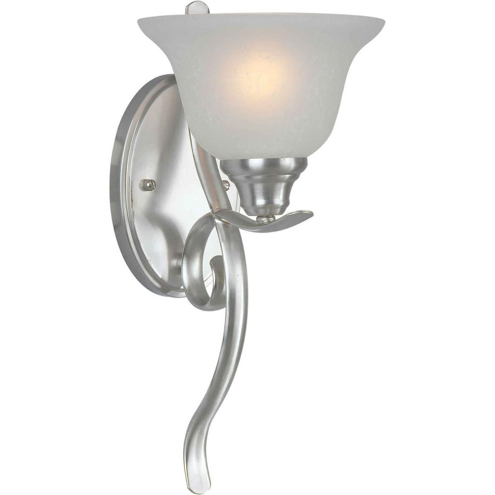Illumine 1 Light Wall Sconce Brushed Nickel Finish White Linen Glass-DISCONTINUED