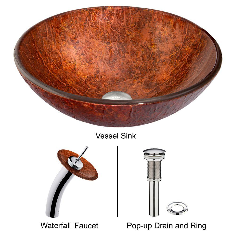 Mahogany Moon Vessel Sink in Copper with Waterfall Faucet in Chrome
