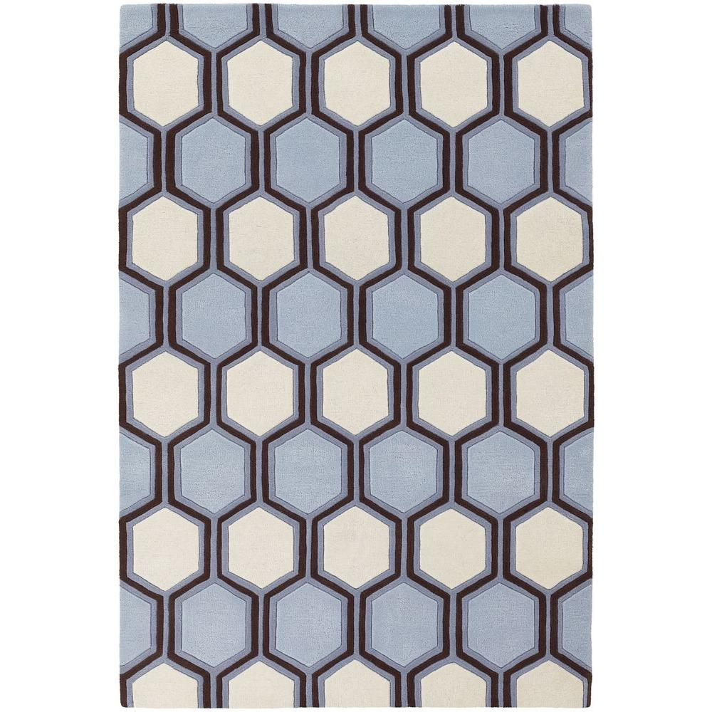 Chandra Inhabit Blue/Brown/White 7 ft. 9 in. x 10 ft. 6