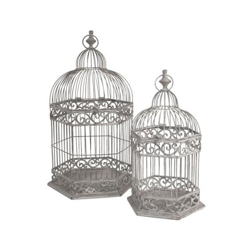 Home Decorators Collection 14.75 in. W Grey Cathedral Birdcage Set (Set of 2)-DISCONTINUED