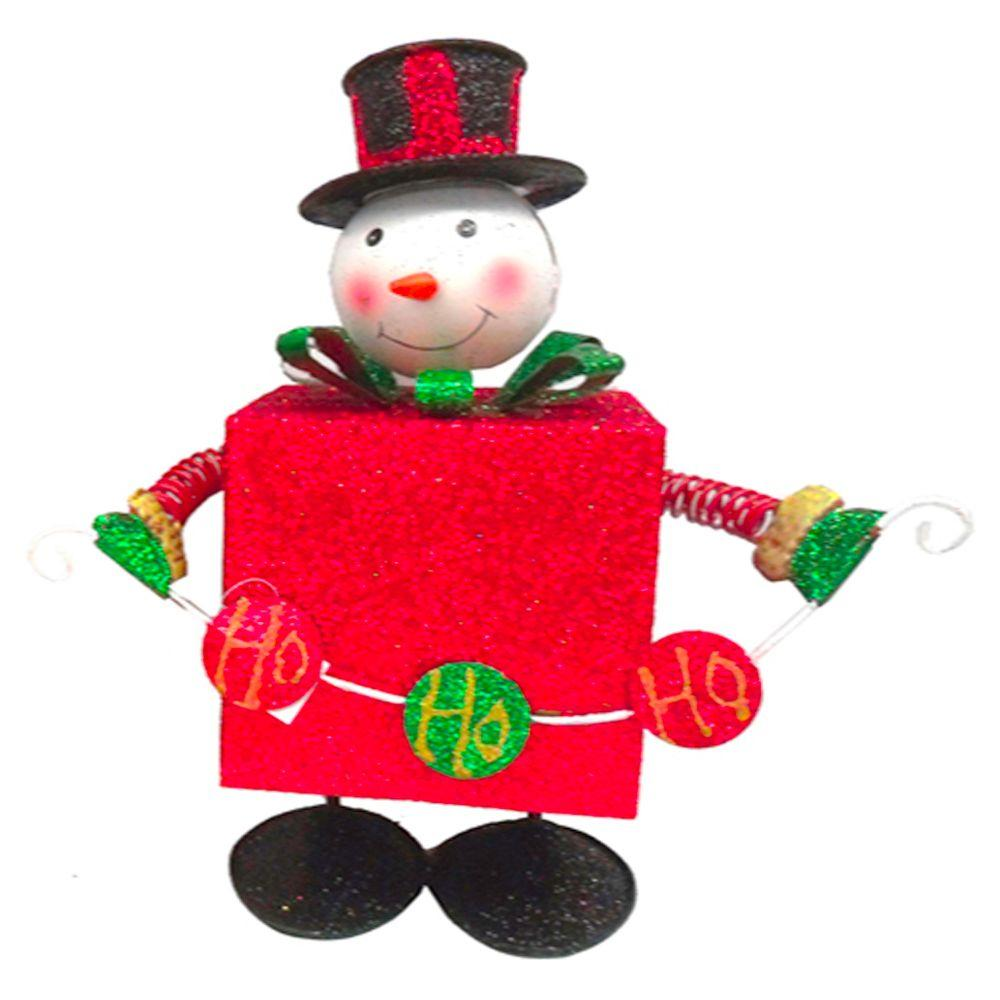 null 11 in. Metal Bouncing Snowman with Red Present Body