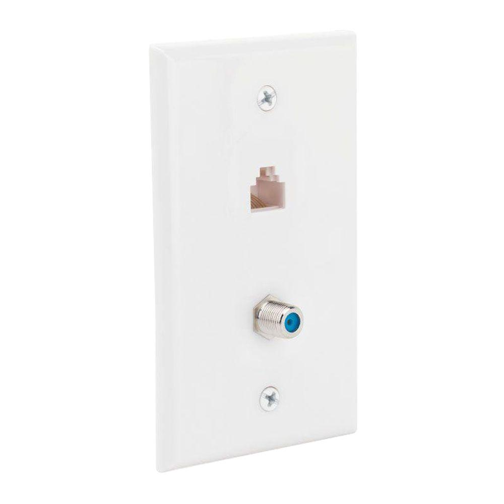 CE TECH Network and Coax Wall Plate