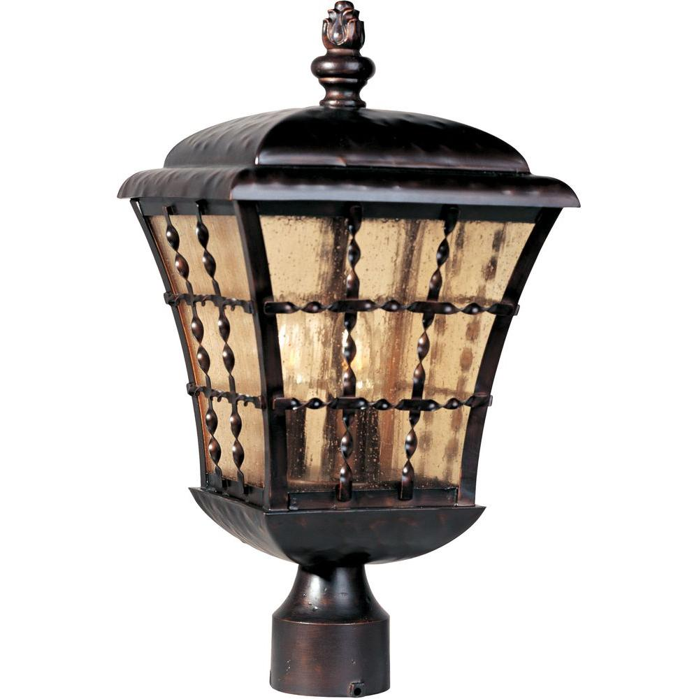 maxim lighting orleans 3 light oil rubbed bronze outdoor pole post mount 30490asoi the home depot