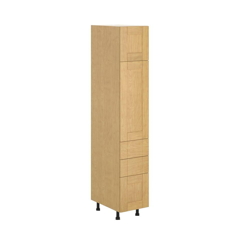 Ready to Assemble 15x83.5x24.5 in. Milano 3-Drawer Pantry Cabinet in Maple Melamine and Door in Clear Varnish, Melamine Maple