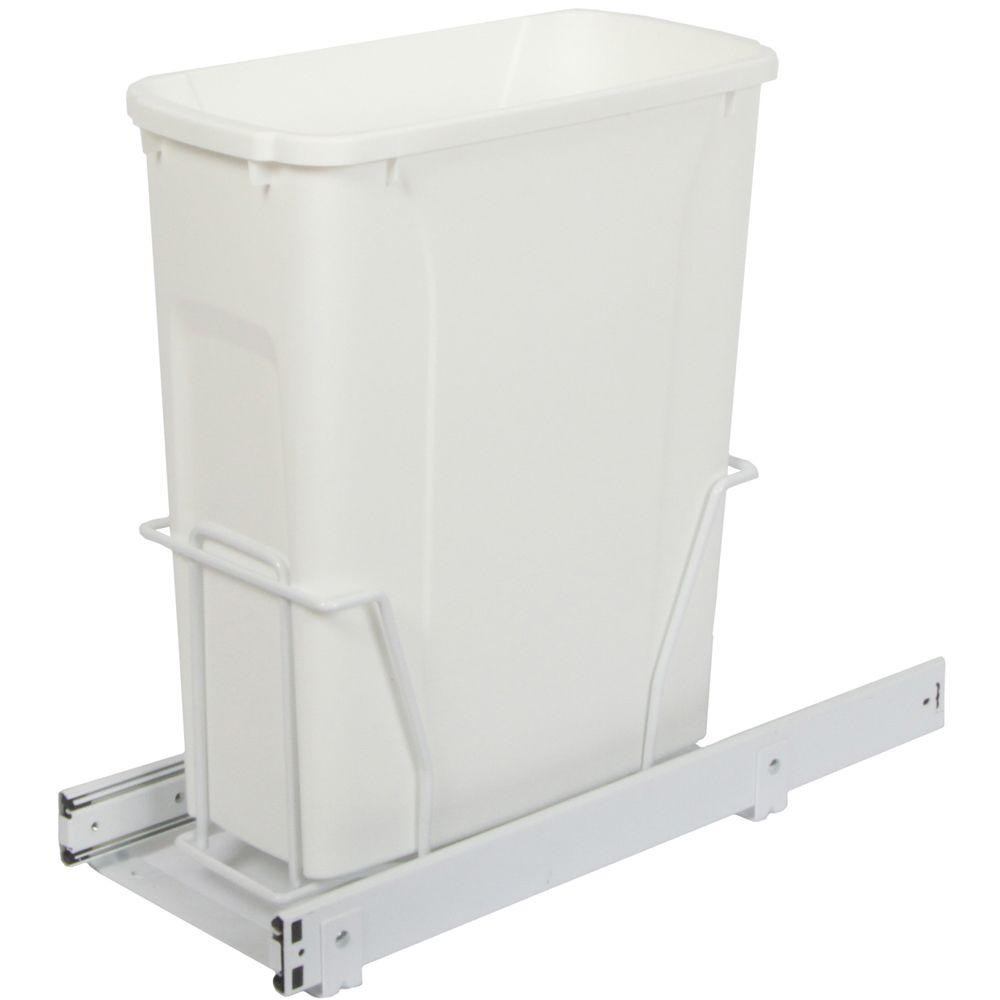 Knape & Vogt 17.31 in. x 8.38 in. x 20 in. In Cabinet Pull Out Bottom Mount Trash Can