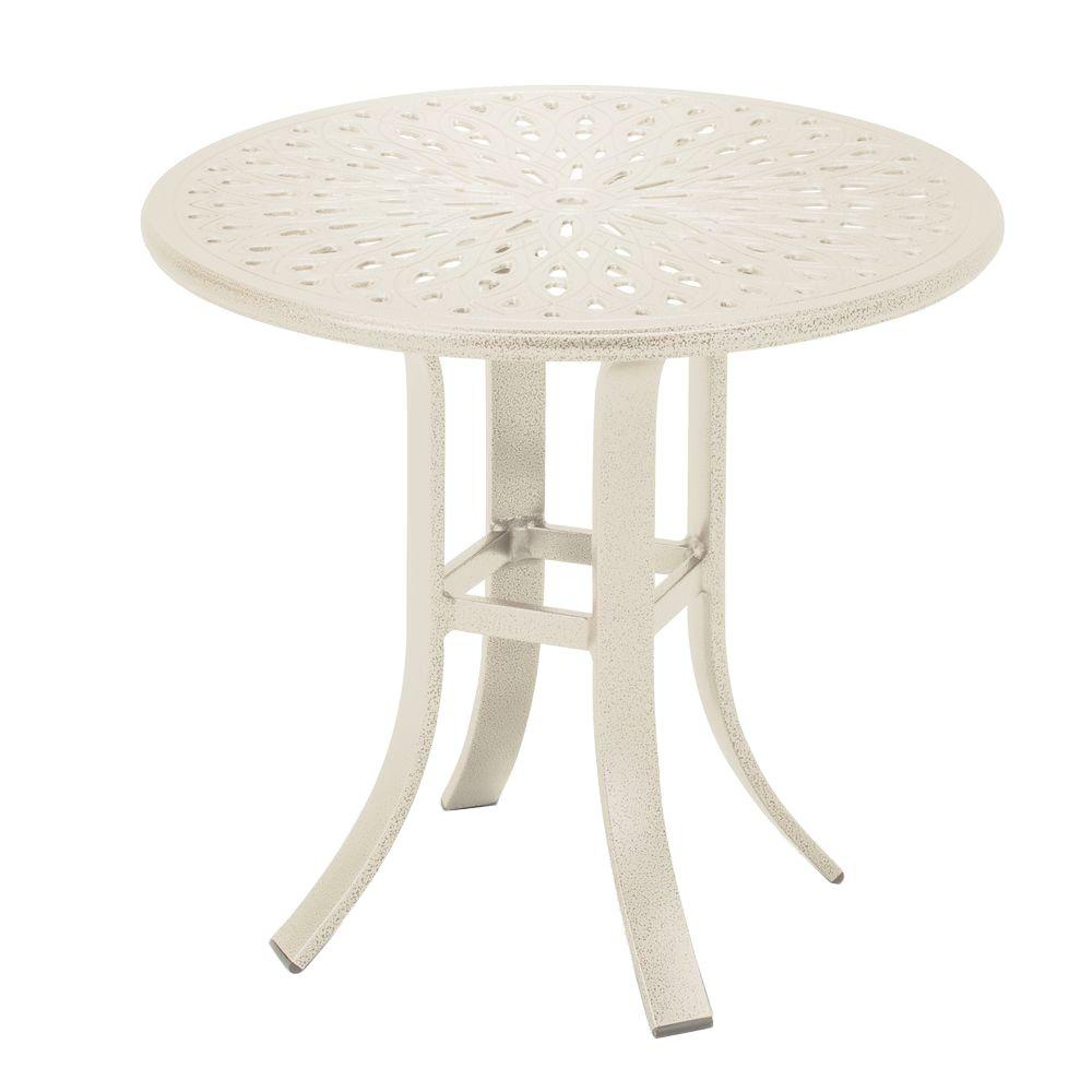 Tradewinds 24 in. Antique Bisque Cast Aluminum Commercial Patio Occasional Table