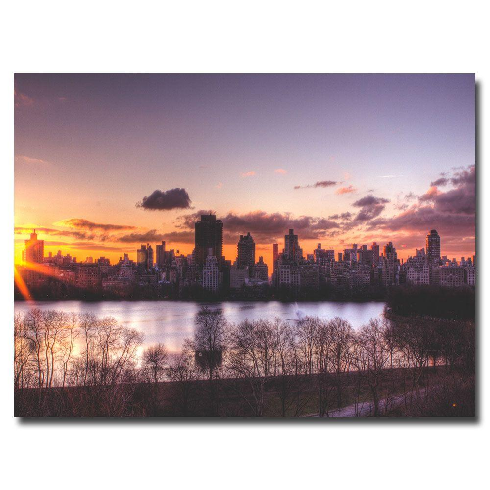 Trademark Fine Art 22 in. x 32 in. Central Park Sunrise Canvas Art