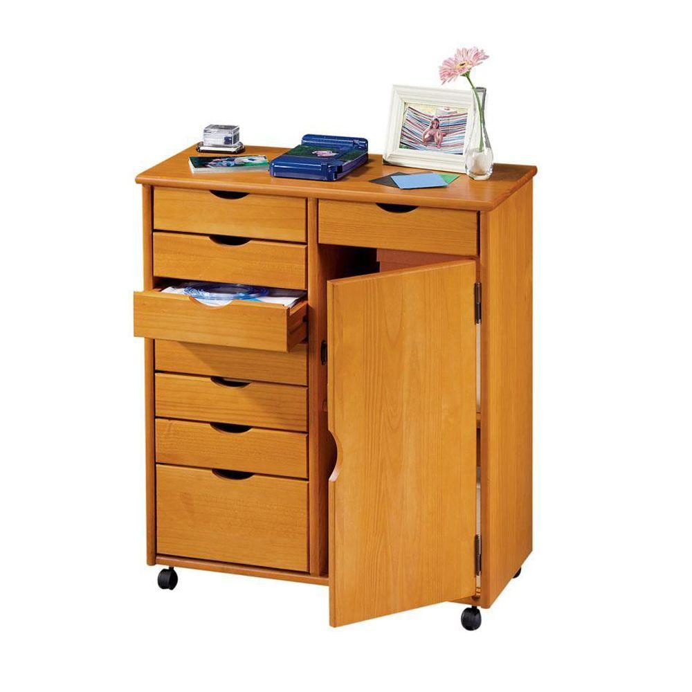 Home Decorators Collection Stanton Oak 7+1 Drawers Double Wide Storage Cart