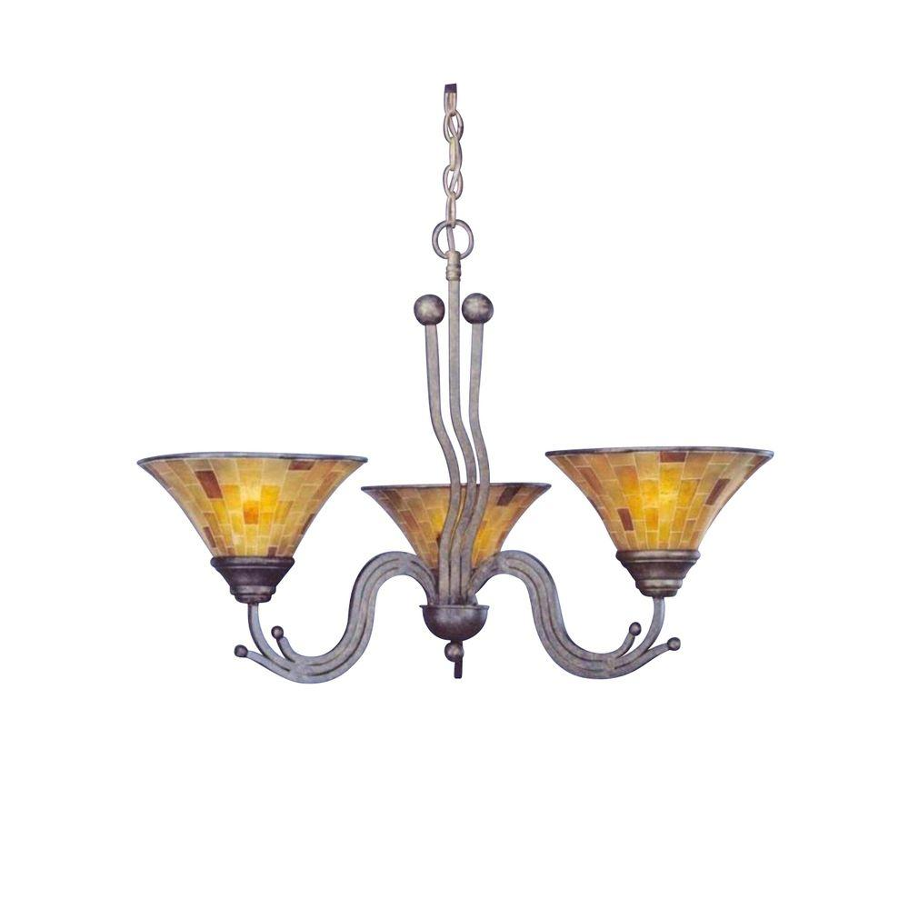 Filament Design Concord Series 3-Light Bronze Chandelier with Penshell Resin
