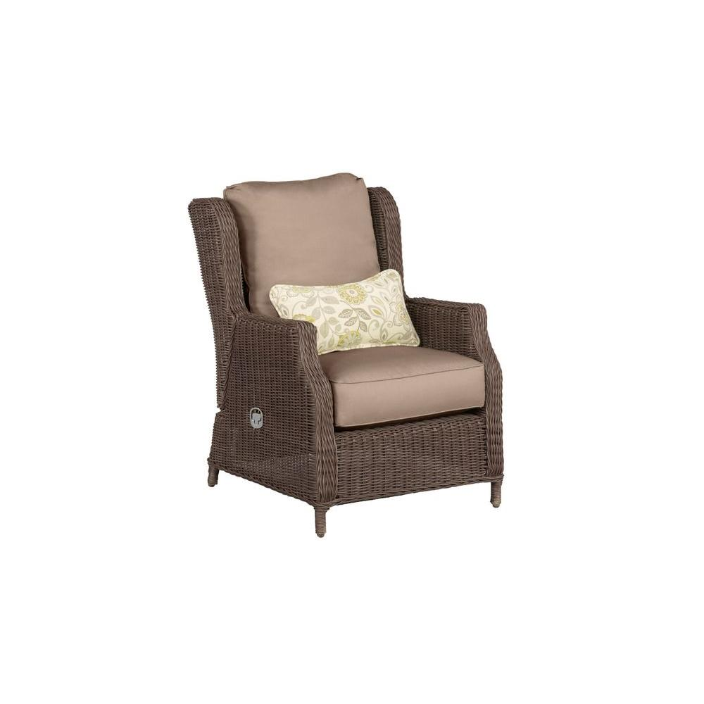 Vineyard Patio Motion Lounge Chair in Sparrow with Aphrodite Spring Lumbar