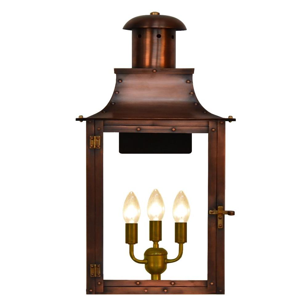 Madison 3-Light Copper Outdoor Wall Lantern