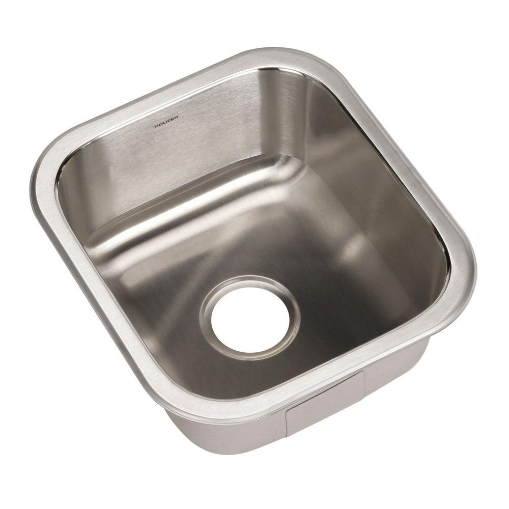 Club Series Undermount Stainless Steel 16 in. Square Single Basin Bar/Prep