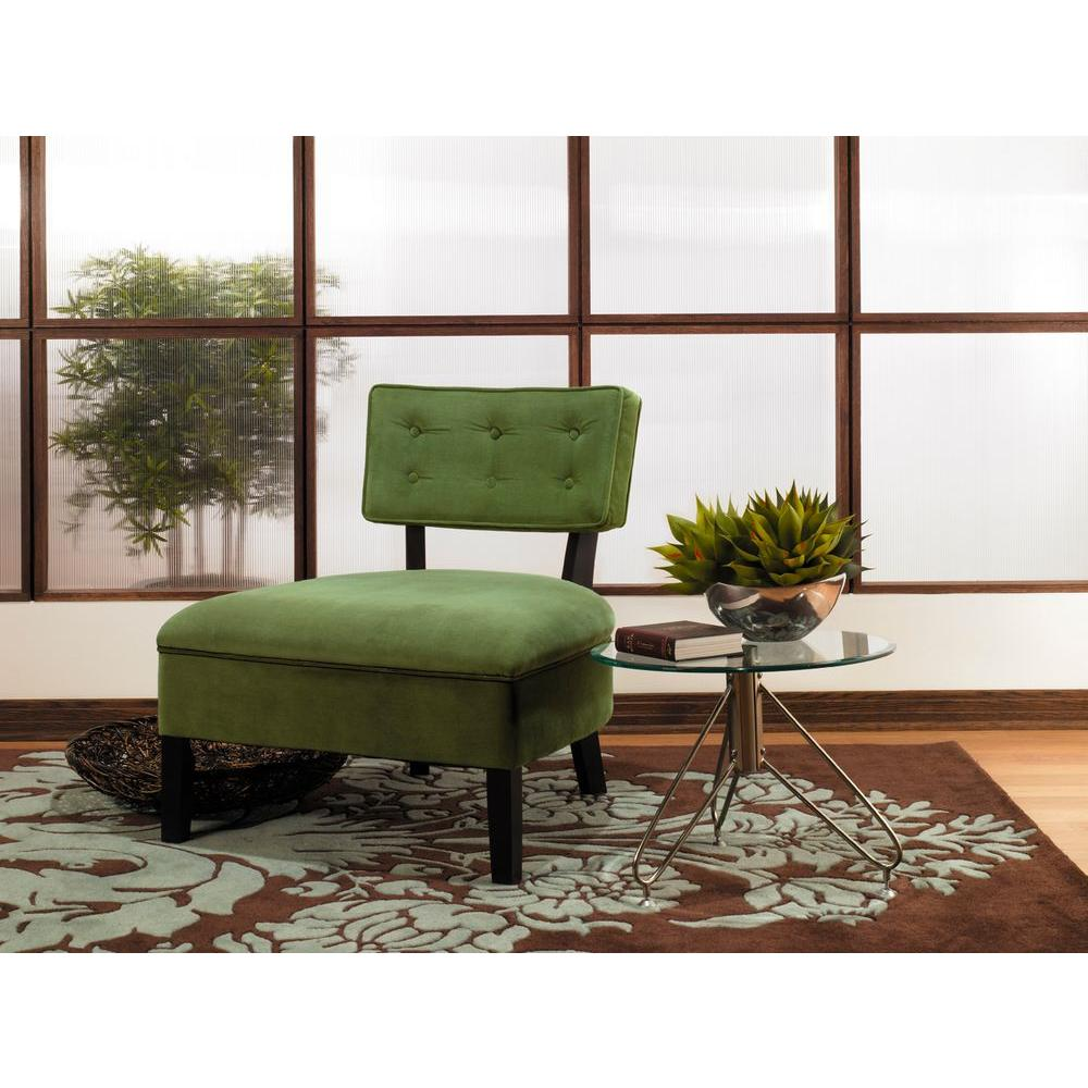 Ave Six Curves Velvet Accent Chair in Spring Green