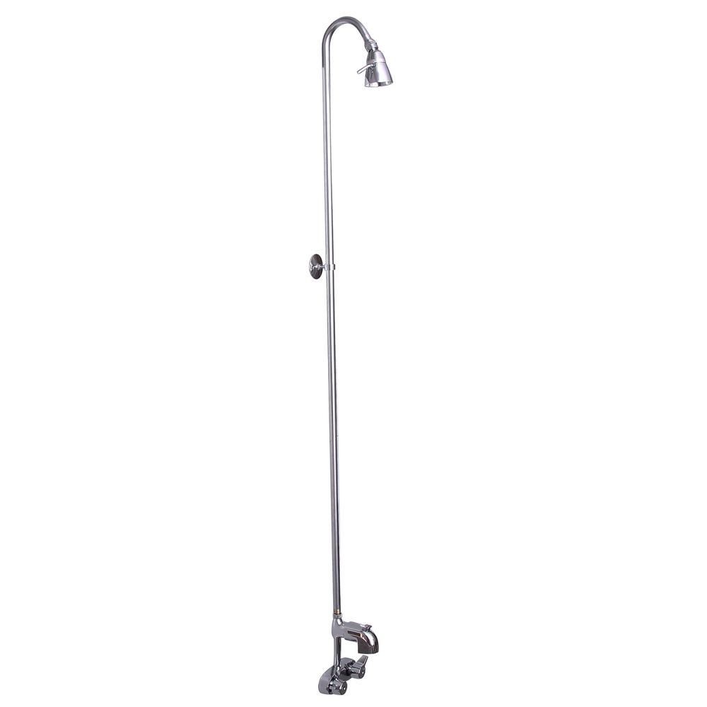 2-Handle Claw Foot Tub Faucet without Hand Shower with Riser and