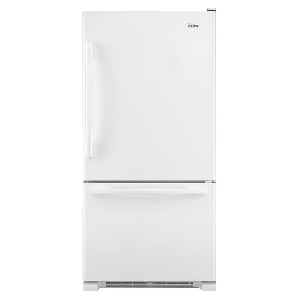 Gold 30 in. W 18.5 cu. ft. Bottom Freezer Refrigerator in White-DISCONTINUED